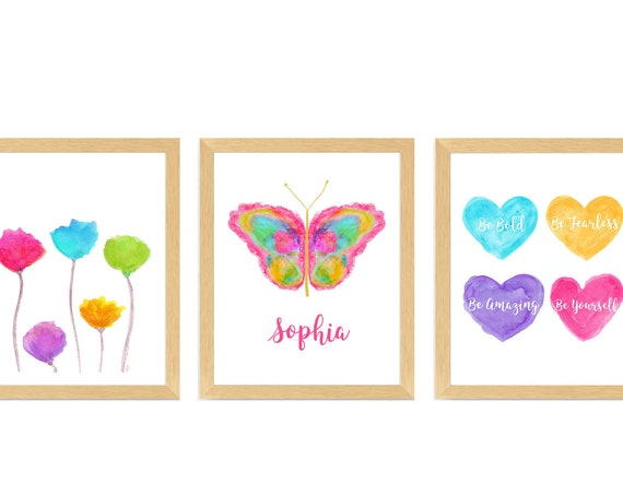 Tween Girl Room Decor; Inspirational Print Set with Butterfly, Hearts and Flowers