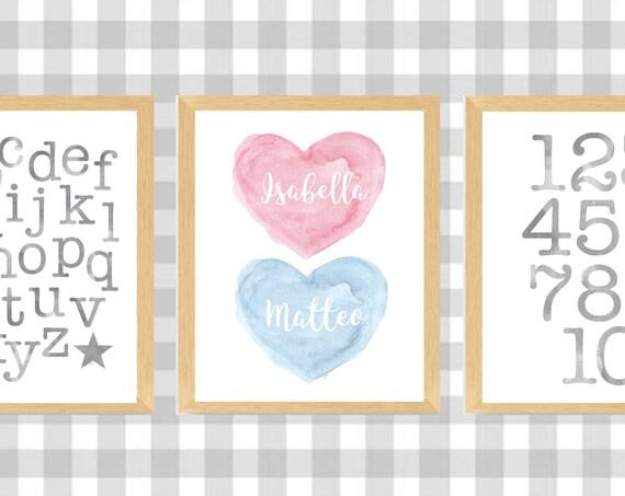 Boy Girl Playroom Wall Decor,  11x14 Set of 3 ABC 123 Learning Prints
