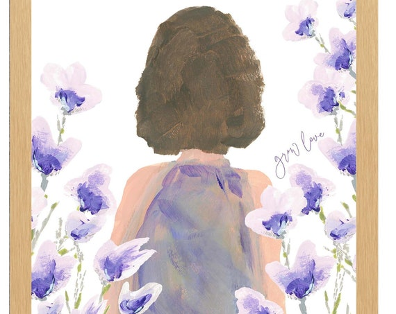 Grow Love, Girl Portrait in Garden in 8x10 or 11x14