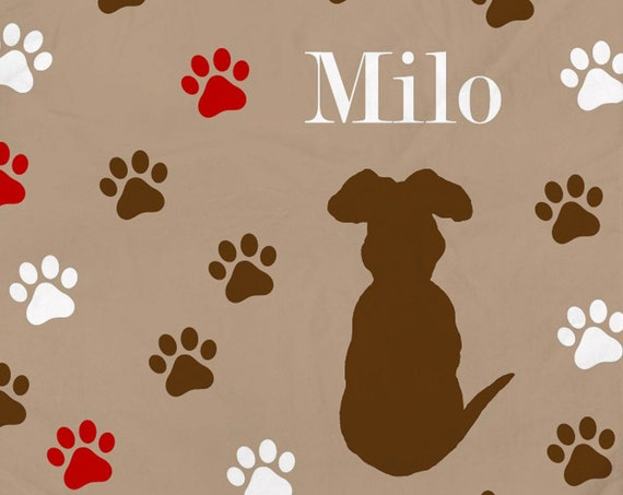 Chocolate Lab Blanket with Brown and Red Paw Prints and Custom Name