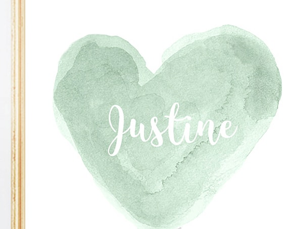 Mint Watercolor Heart with Custom Name