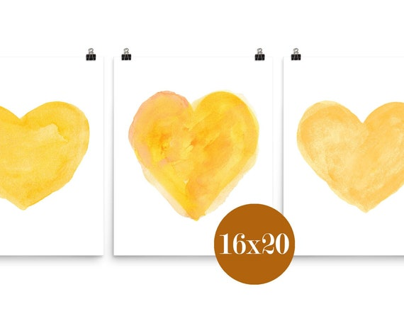 Yellow Wall Decor, 16x20 Set of 3 Hearts Prints in 16x20