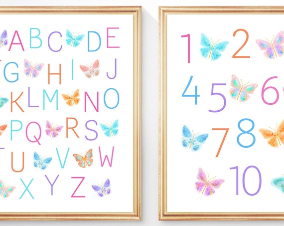 Set of 2 Butterfly ABC 123 Prints for Little Girl