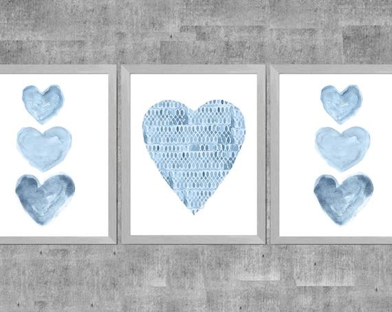 Blue Watercolor Heart Prints: Set of 3