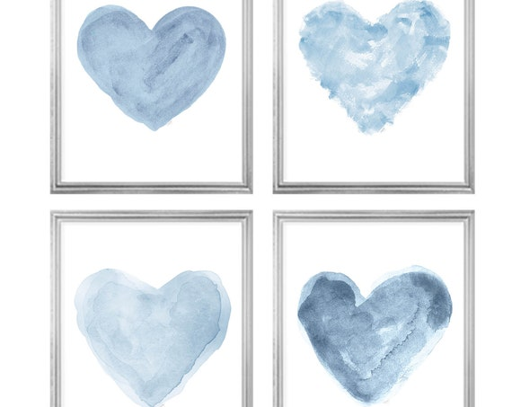 Blue Heart Gallery Wall, 8x10-Set 4 Blue Watercolor Hearts