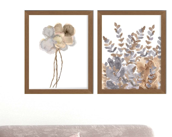 Gold and Gray Wall Decor, Set of 2-16x20 or 18x24 Watercolor Floral Prints