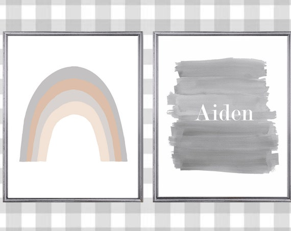 Natural Rainbow with Personalized Ombre Print, Set of 2