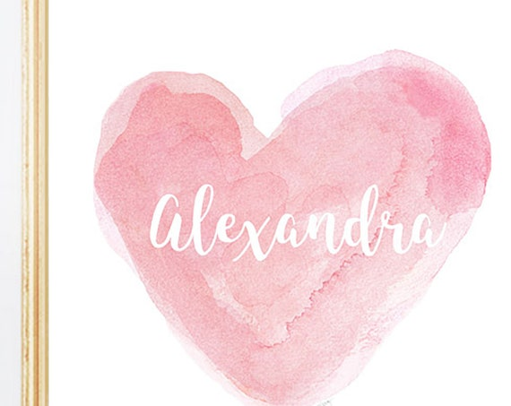 Personalized Watercolor Heart Print for Girls in 11 Colors