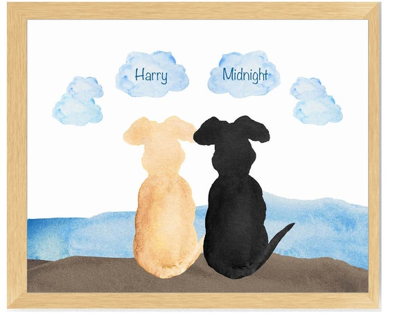 Two Dogs at River Personalized Print 8x10
