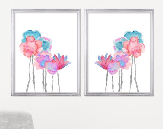Aqua and Coral Floral Artwork, 16x20 Set of 2 Large Flower Prints for Girls Bedroom