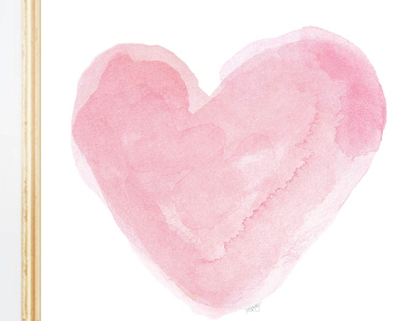 Pastel Pink Heart Art, 5x7, 8x10 Watercolor Print