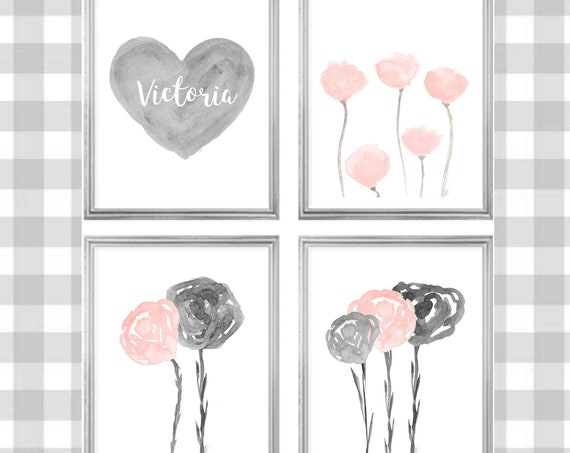 Gray and Blush Gallery Wall for Girls Room, Set of 4-8x10 Watercolor Prints with Hearts and Flowers