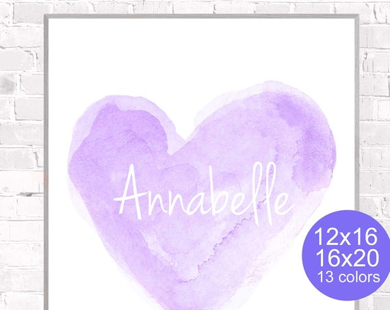 Lavender Girls Poster Personalized with Name; 12x16, 16x20