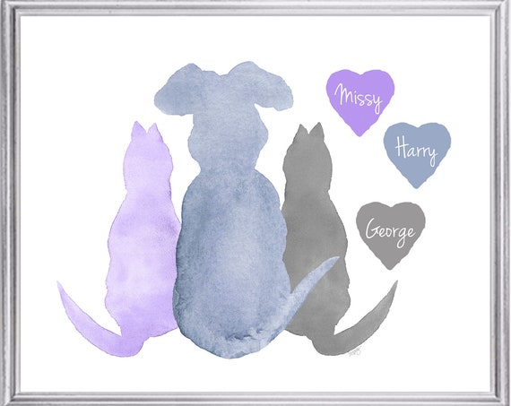 Family Pets Gift, 8x10 Personalized Dog and Cat Print