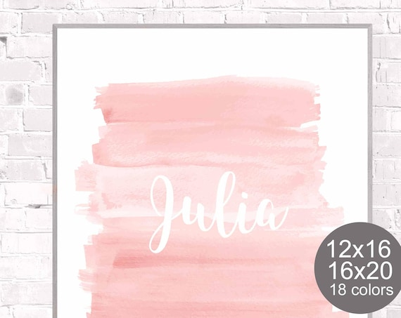 Blush Nursery Poster with Custom Name in 18 Colors, 12x16, 16x20