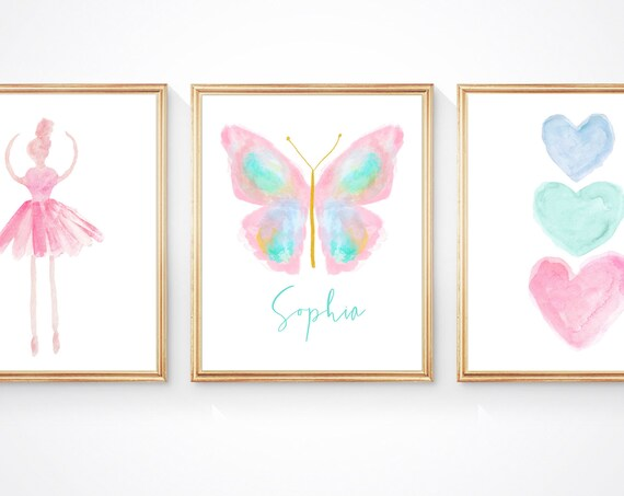 Pastel Butterfly and Ballerina, Print Set of 3 for Young Girls Bedroom