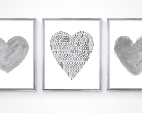 Unisex Nursery Prints, Set of 3-8x10 Gray Watercolor Hearts