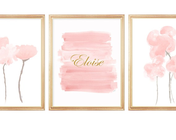 Blush Flowers Artwork, Set of 3 Personalized Prints for Baby Room