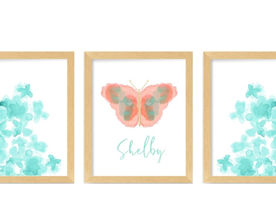 Coral and Seafoam Green Print Set of 3, Butterfly and Flowers