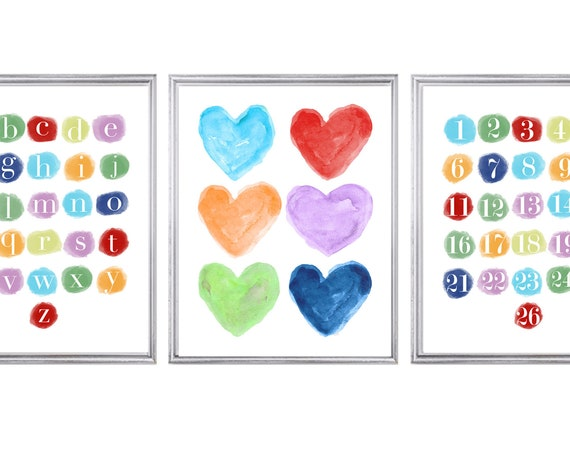 Learning Alphabet for Playroom, 11x14 Set of 3 Teaching Prints