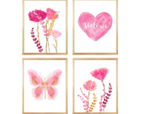 Girls Natural Decor for Bedroom; Set of 4 Personalized Prints
