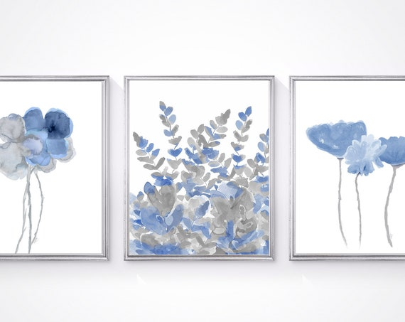 Blue Gray Wall Decor, Set of 3 Watercolor Prints