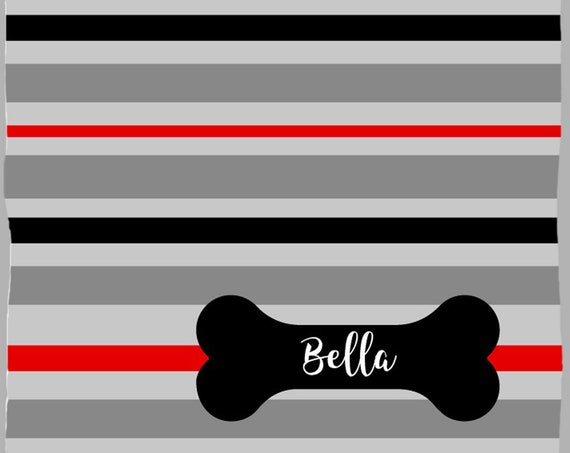 Black Dog Blanket with Gray and Red Stripes