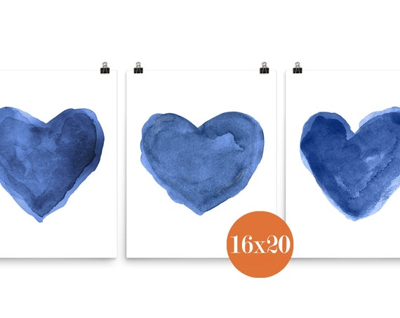 Indigo Hearts, 16x20 Set of 3 Prints