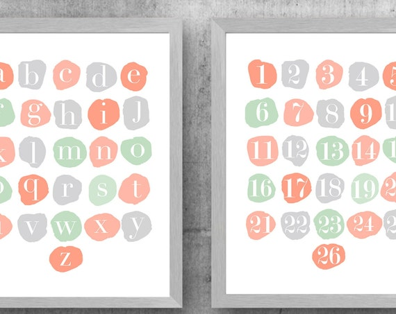 Coral and Mint Learning Artwork, Set of 2 ABC 123 Prints