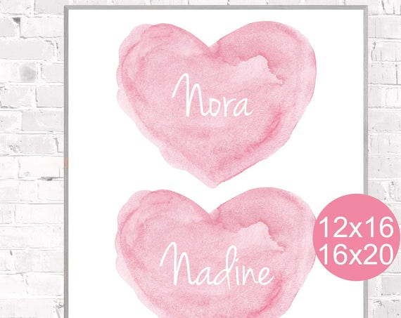 Sisters Poster, Personalized Pink Watercolor Hearts, 12x16, 16x20