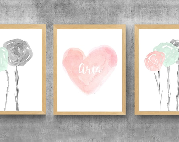 Blush and Mint Girls Floral Prints, 11x14, Set of 3 with Personalized Heart