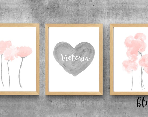 Gray and Blush Nursery Prints, Set of 3, Watercolor Flowers and Personalized Heart