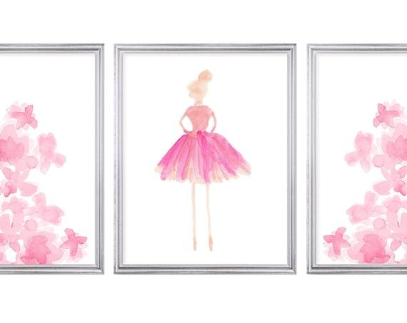 Prima Ballerina and Flowers Prints, Set of 3