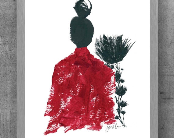 Grow Love, Red and Black Woman's Portrait, 8x10, 11x14 Art Print
