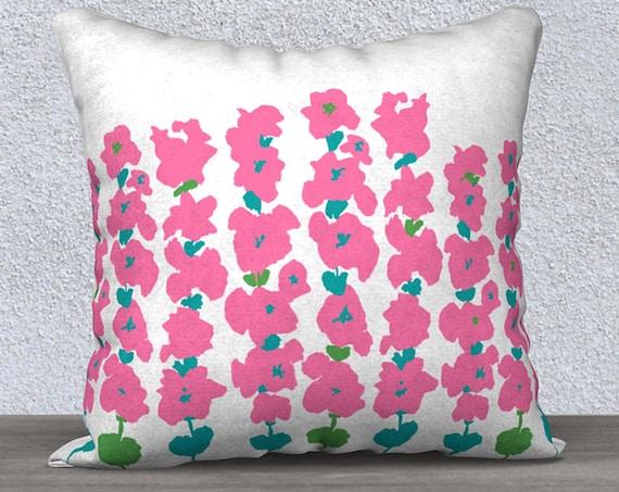 Velvet Hollyhock Flower Pillow Case, 18x18