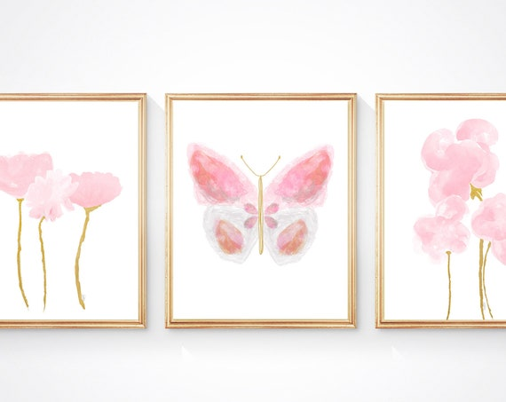 Pink and Gold Butterfly Wall Decor for Girls Room