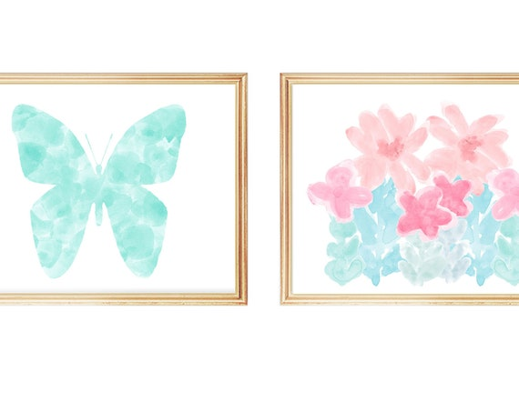 Contemporary Pastel Butterfly and Flowers, Set of 2 Girls Bedroom Prints