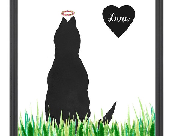 Cat with Flower Halo, Cat in Grass, Cat Loss, Cat Memorial Gift, Mother's Day Gift, Personalized Gift for Mom, Cat Sympathy Gift, Boho Cat