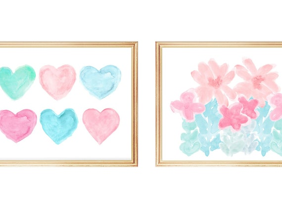 Contemporary Nursery Decor, Pastel Hearts and Flowers; Set of 2  Girl's Prints