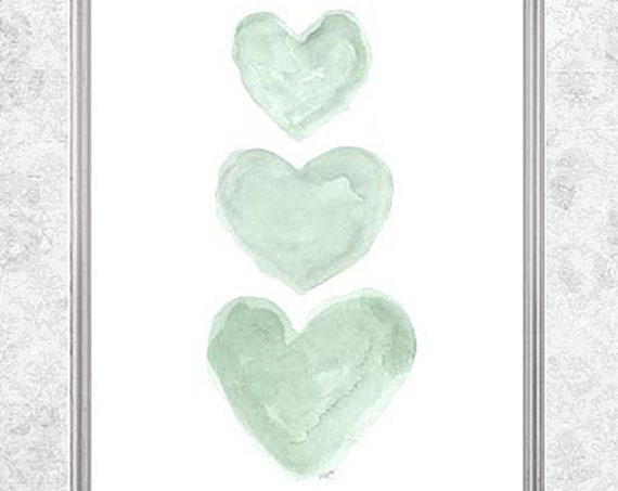 Mint Nursery Nursery Art, Watercolor Hearts Print