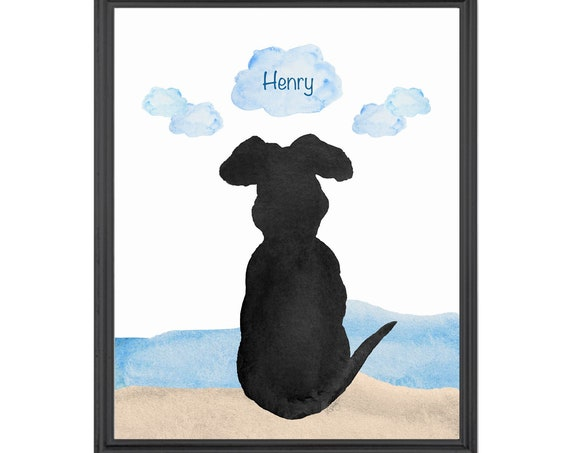 Dog at Beach Art, 8x10 Personalized Pet Print