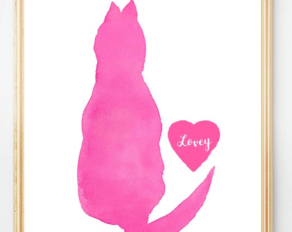 Girl's Cat Art, Personalized Pet Print for Kids, 5x7, 8x10