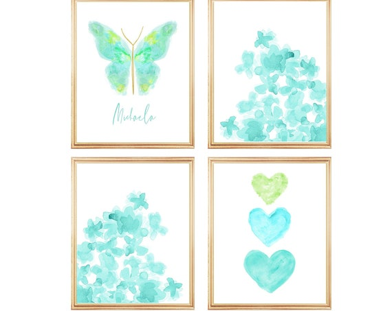 Aqua Gallery Wall for Girls Bedroom, Set of 4, Butterfly, Hearts and Flower Prints