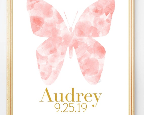 Butterfly Birth Stats Print, 8x10