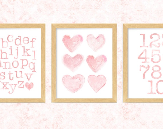 Blush Wall Art for Girls, 8x10 Set of 3 Watercolor ABC 123 Prints