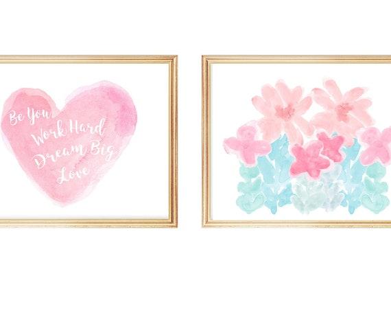 Dream Big, Set of 3 Girls Inspirational Art Prints