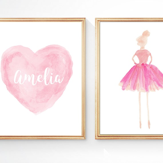 Childrens Ballet Gift, Set of 2 - 8x10 Personalized Ballerina and Heart Prints