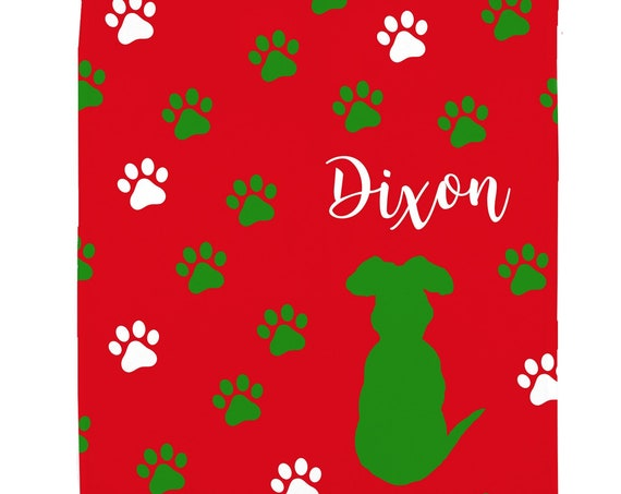 Christmas Dog Blanket for Small Dog with Name