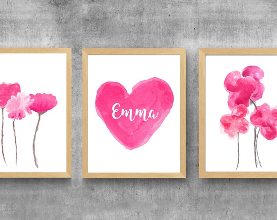 Hot Pink Flower Prints, 11x14-Set of 3, Personalized Watercolor Prints