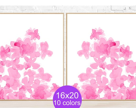 Large Pink Flower Prints, 16x20 Set of 2